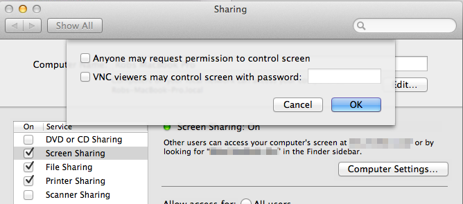 Screen sharing in OSX Mountain Lion Fix
